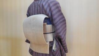 紫、綿麻のきもの、後ろ
