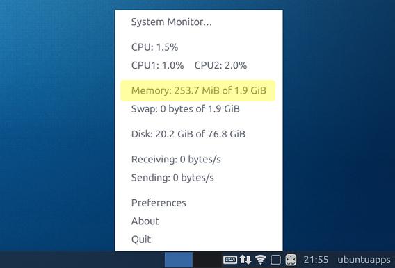 Ubuntu 15.04 Xfce 4.12 起動直後の使用メモリ