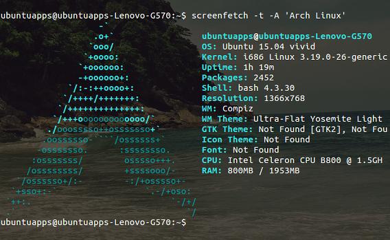 screenFetch Ubuntu コマンド システム情報 オプション 他のディストリビューションのロゴ