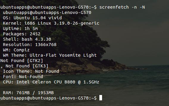 screenFetch Ubuntu コマンド システム情報 オプション テキストのみ